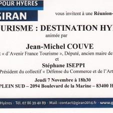 Invitation Tourisme du 7 novembre